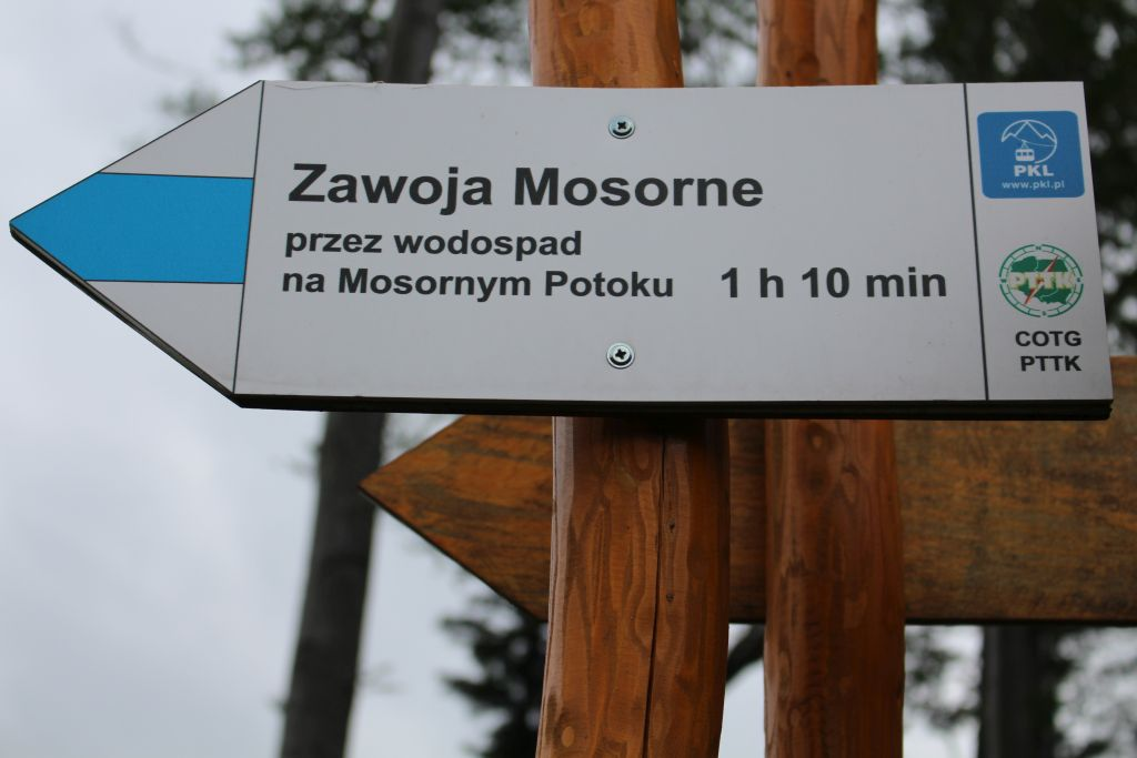 Kierunkowskaz na szczycie Mosornego Gronia